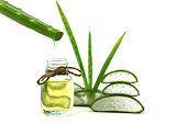 Aloe vera essential oil on tropical leaves on white background