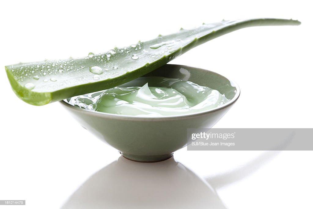 Aloe vera gel and fresh aloe leaf