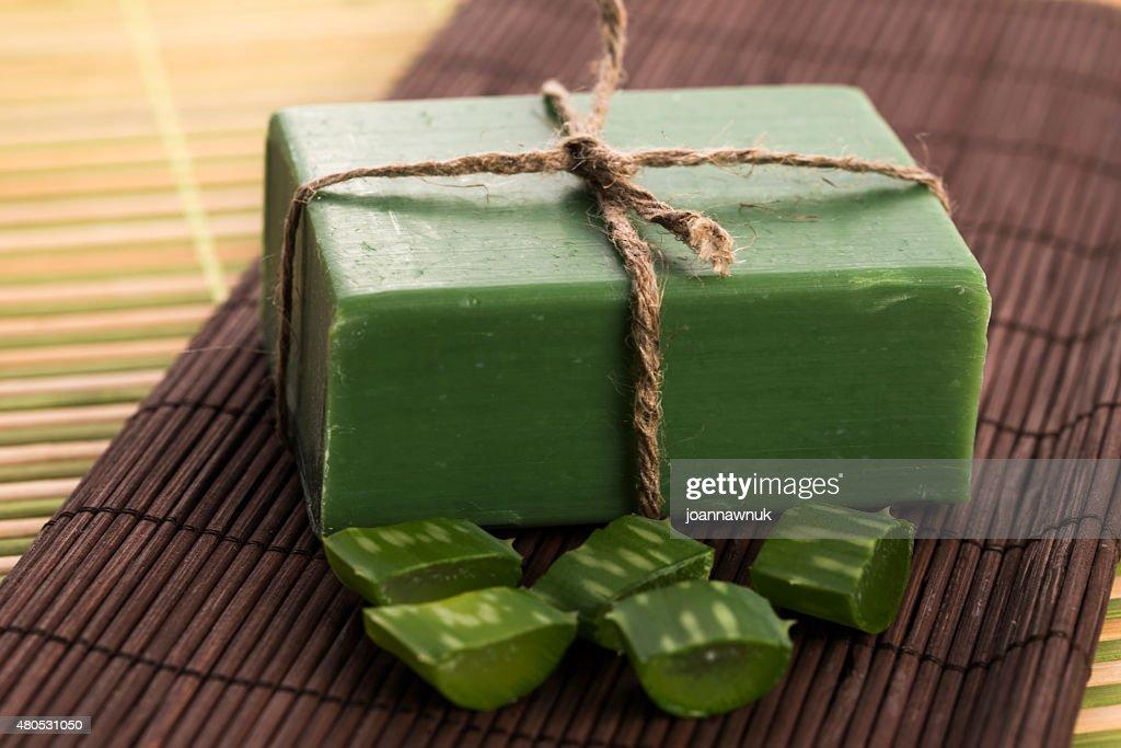 aloe vera soap : Stock Photo