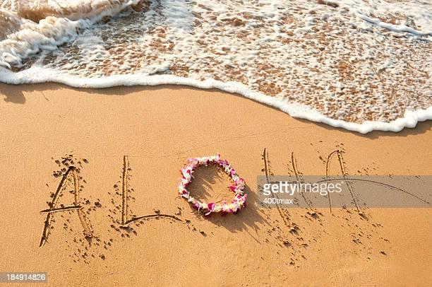 Aloha written in the sand
