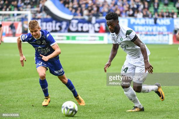 Alois Confais of Troyes and Jonathan Bamba of Saint Etienne during the Ligue 1 match between Troyes Estac and AS Saint Etienne at Stade de l'Aube on...