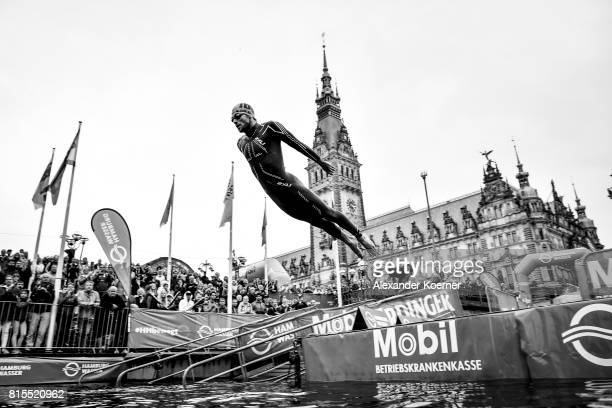 Alois Knabl of Austria jumps into the water during the Elite Mixed Relay at Hamburg Wasser ITU World Triathlon Championships 2017 on July 16 2017 in...
