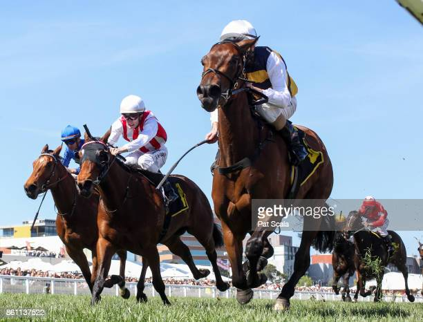 Aloisia ridden by Luke Nolen returns after winning the Schweppes Thousand Guineas at Caulfield Racecourse on October 14 2017 in Caulfield Australia