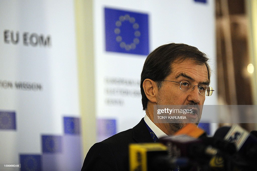 Alojz Pertele, former Slovenian Prime Minister and chief observer of the EU Observation Mission for the Kenyan elections addresses a press conference on January 24, 2013 in Nairobi. Peterle said the EOM would observe all aspects of Kenya's electoral process and asses the extent to which the elections comply with international and regional commitments as well as the Kenyan law, a disregard of which led to deadly post-poll violence that claimed more than 1,100 lives. Tony KARUMBA