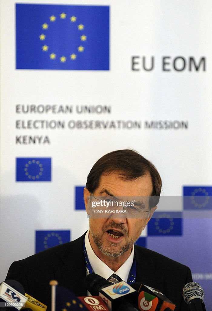 Alojz Peterle, former Slovenian Prime Minister and chief observer of the EU Observation Mission for the Kenyan elections addresses a press conference on January 24, 2013 in Nairobi. Peterle said the EOM would observe all aspects of Kenya's electoral process and asses the extent to which the elections comply with international and regional commitments as well as the Kenyan law, a disregard of which led to deadly post-poll violence that claimed more than 1,100 lives. Tony KARUMBA