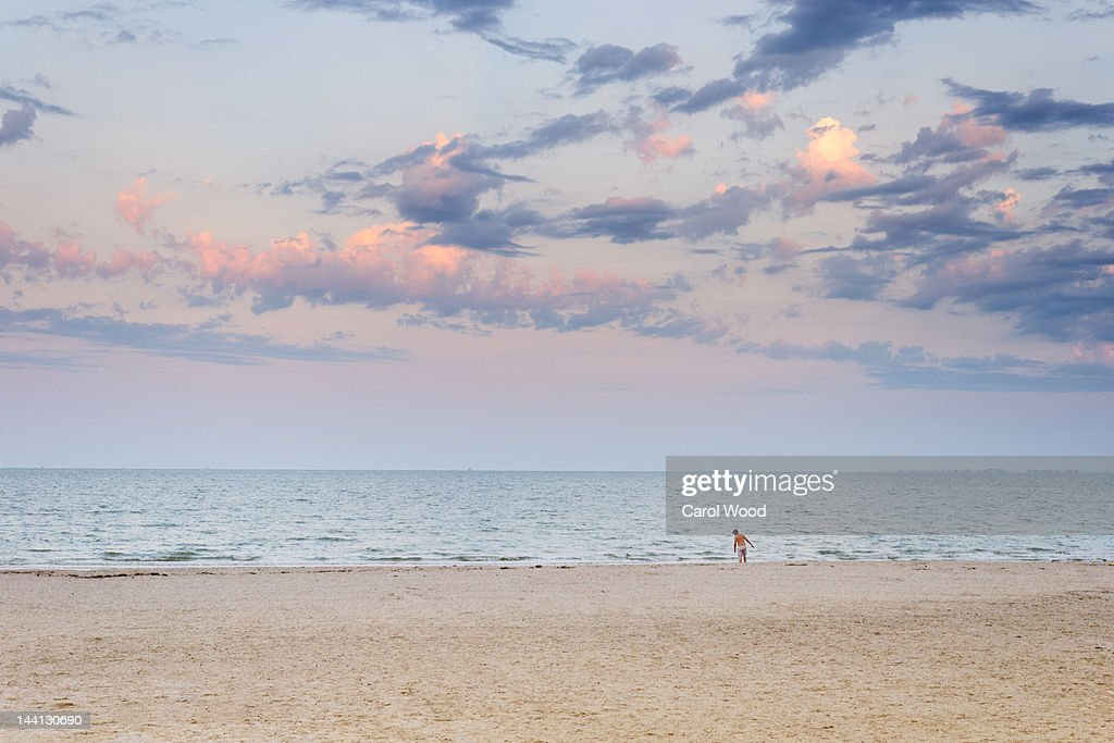 Alone at  beach : Stock Photo