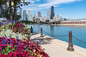 Walkway along the Chicago pier with skyline in background
