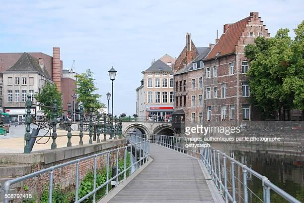 Along the historic canal footbridge