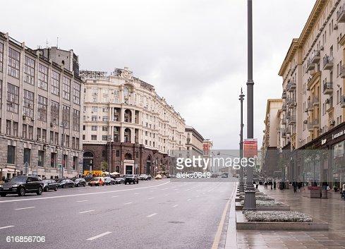 Along Tverskaya Street moving cars and pedestrians : Stock Photo