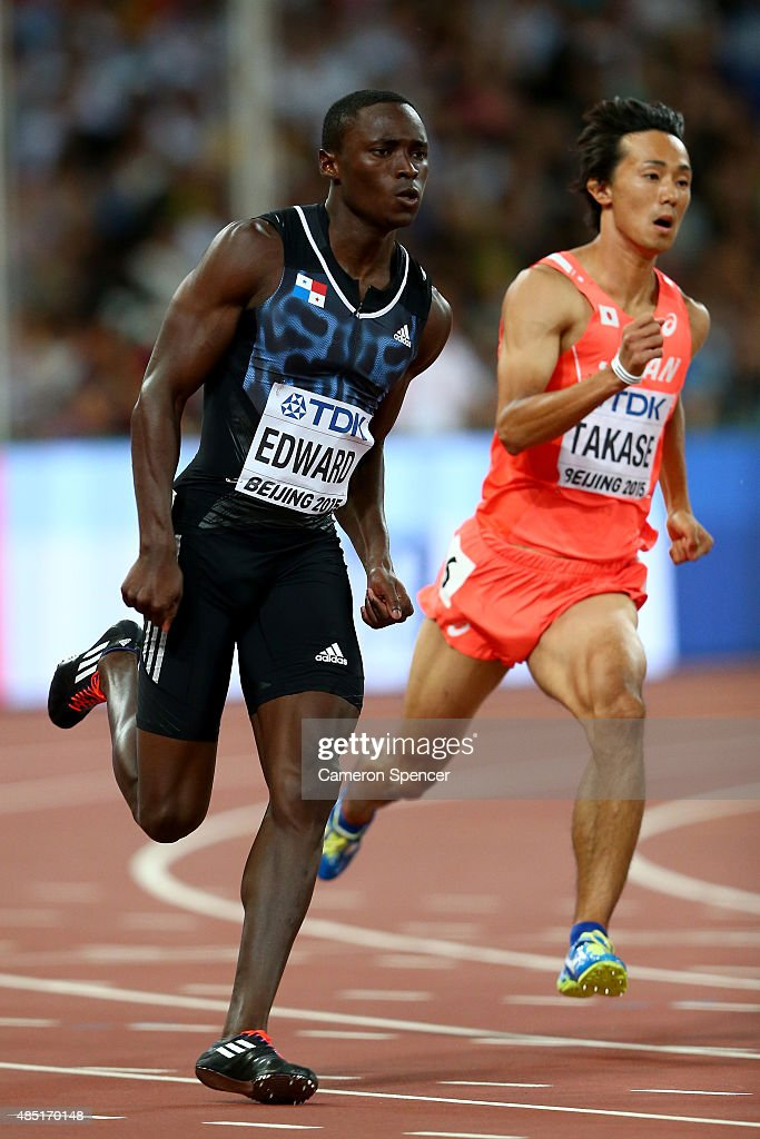 <a gi-track='captionPersonalityLinkClicked' href=/galleries/search?phrase=Alonso+Edward&family=editorial&specificpeople=6147378 ng-click='$event.stopPropagation()'>Alonso Edward</a> of Panama (L) and <a gi-track='captionPersonalityLinkClicked' href=/galleries/search?phrase=Kei+Takase&family=editorial&specificpeople=7933891 ng-click='$event.stopPropagation()'>Kei Takase</a> of Japan compete in the Men's 200 metres heats during day four of the 15th IAAF World Athletics Championships Beijing 2015 at Beijing National Stadium on August 25, 2015 in Beijing, China.
