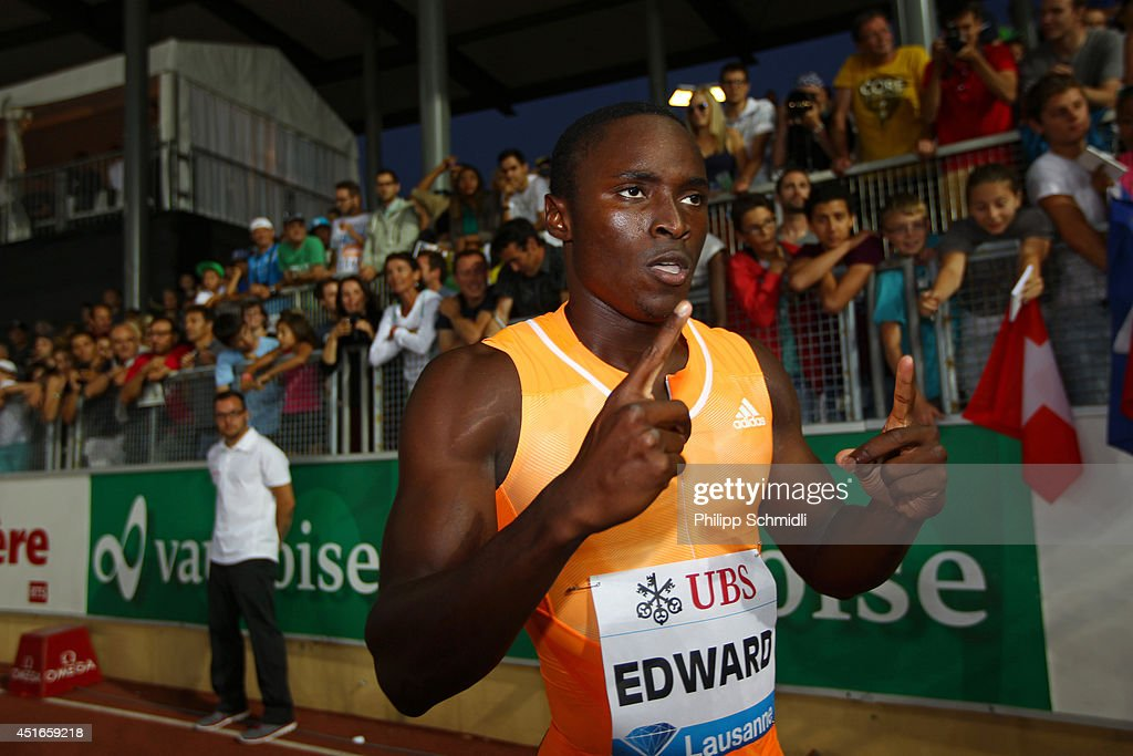 <a gi-track='captionPersonalityLinkClicked' href=/galleries/search?phrase=Alonso+Edward+-+Sprinter&family=editorial&specificpeople=6147378 ng-click='$event.stopPropagation()'>Alonso Edward</a> of Panama celebrates after winning the Men's 200m race at the IAAF Diamond League Athletics meeting 'Athletissima' on July 3, 2014 in Lausanne, Switzerland.