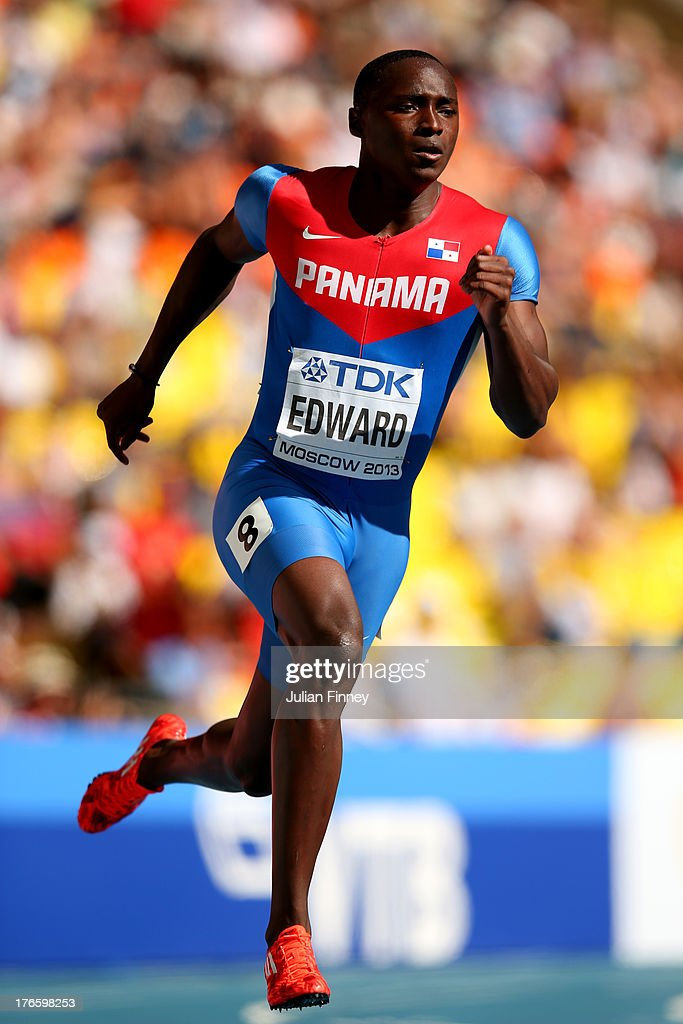 <a gi-track='captionPersonalityLinkClicked' href=/galleries/search?phrase=Alonso+Edward+-+Sprinter&family=editorial&specificpeople=6147378 ng-click='$event.stopPropagation()'>Alonso Edward</a> of Panama competes in the Men's 200 metres heats during Day Seven of the 14th IAAF World Athletics Championships Moscow 2013 at Luzhniki Stadium at Luzhniki Stadium on August 16, 2013 in Moscow, Russia.
