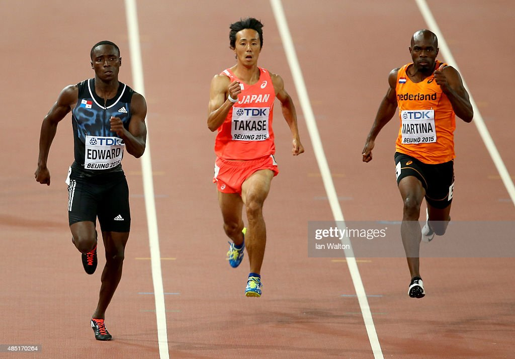 <a gi-track='captionPersonalityLinkClicked' href=/galleries/search?phrase=Alonso+Edward+-+Sprinter&family=editorial&specificpeople=6147378 ng-click='$event.stopPropagation()'>Alonso Edward</a> of Panama, <a gi-track='captionPersonalityLinkClicked' href=/galleries/search?phrase=Kei+Takase&family=editorial&specificpeople=7933891 ng-click='$event.stopPropagation()'>Kei Takase</a> of Japan and <a gi-track='captionPersonalityLinkClicked' href=/galleries/search?phrase=Churandy+Martina&family=editorial&specificpeople=744125 ng-click='$event.stopPropagation()'>Churandy Martina</a> of the Netherlands compete in the Men's 200 metres heats during day four of the 15th IAAF World Athletics Championships Beijing 2015 at Beijing National Stadium on August 25, 2015 in Beijing, China.