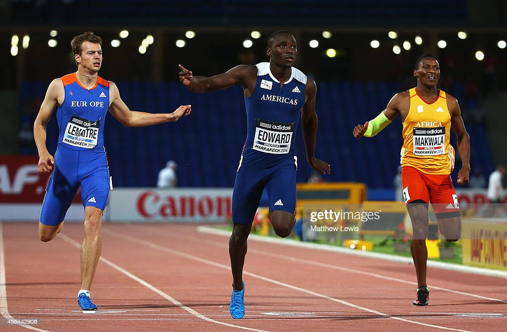 <a gi-track='captionPersonalityLinkClicked' href=/galleries/search?phrase=Alonso+Edward&family=editorial&specificpeople=6147378 ng-click='$event.stopPropagation()'>Alonso Edward</a> of the Americas wins the Mens 200m Final during Day two of the IAAF Continental Cup at the Stade de Marrakech on September 14, 2014 in Marrakech, Morocco.