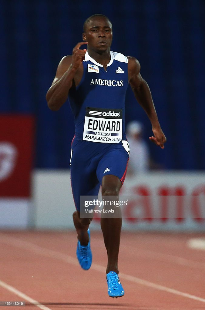 <a gi-track='captionPersonalityLinkClicked' href=/galleries/search?phrase=Alonso+Edward+-+Sprinter&family=editorial&specificpeople=6147378 ng-click='$event.stopPropagation()'>Alonso Edward</a> of the Americas wins the Mens 200m Final during Day two of the IAAF Continental Cup at the Stade de Marrakech on September 14, 2014 in Marrakech, Morocco.
