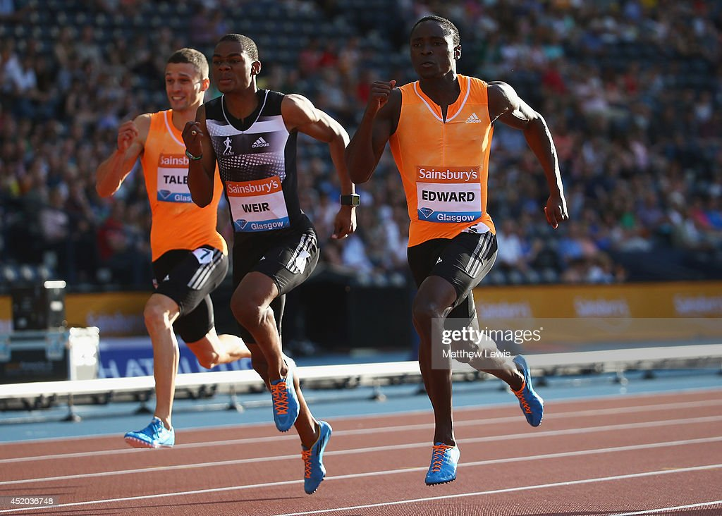 <a gi-track='captionPersonalityLinkClicked' href=/galleries/search?phrase=Alonso+Edward+-+Sprinter&family=editorial&specificpeople=6147378 ng-click='$event.stopPropagation()'>Alonso Edward</a> (R) wins the Mens 200m Final during day one of the Diamond League Sainsbury's Glasgow Grand Prix at Hampden Park on July 11, 2014 in Glasgow, Scotland.
