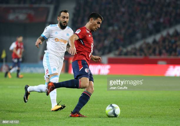 Alonso Junior of Lille Konstantinos Kostas Mitroglou of OM during the French Ligue 1 match between Lille OSC and Olympique de Marseille at Stade...