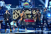 Alonso Villalpando Alan Navarro Jos Canela and Bryan Mouque of CD9 perform onstage during Telemundo's Latin American Music Awards at the Dolby...