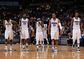 Alonzo Gee Kenneth Faried Ty Lawson Arron Afflalo and Darrell Arthur of the Denver Nuggets take the court against the Sacramento Kings at Pepsi...