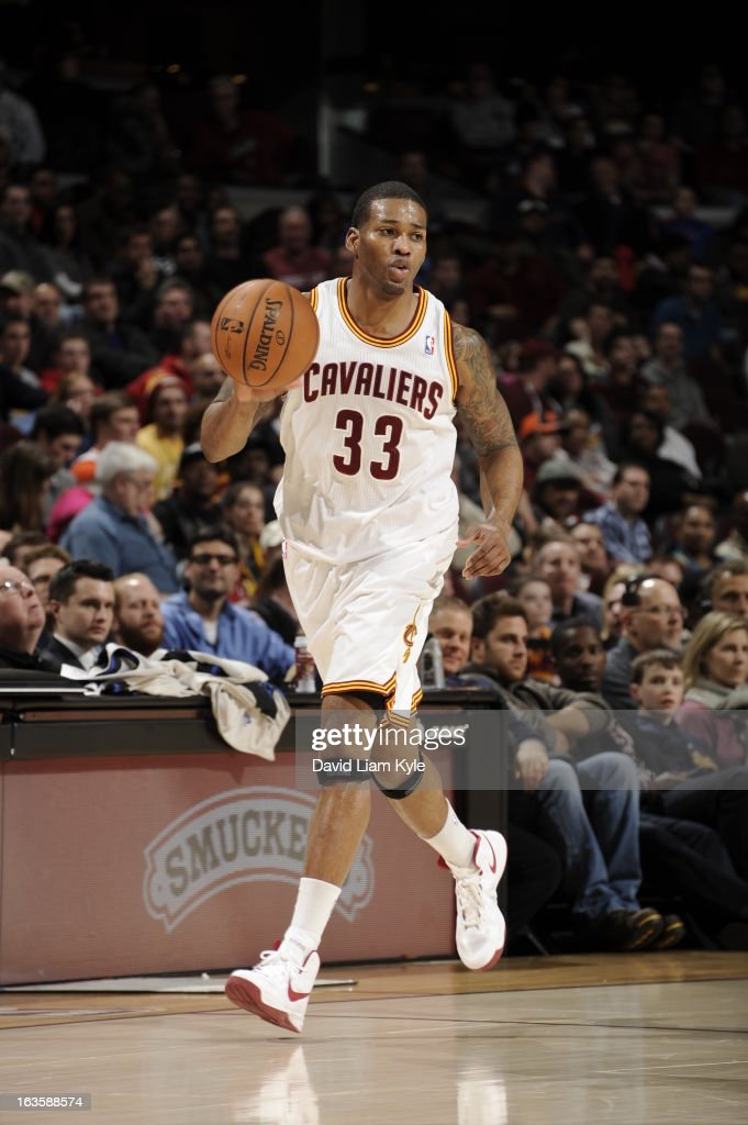 <a gi-track='captionPersonalityLinkClicked' href=/galleries/search?phrase=Alonzo+Gee&family=editorial&specificpeople=801443 ng-click='$event.stopPropagation()'>Alonzo Gee</a> #33 of the Cleveland Cavaliers drives up-court against the Toronto Raptors at The Quicken Loans Arena on February 27, 2013 in Cleveland, Ohio.