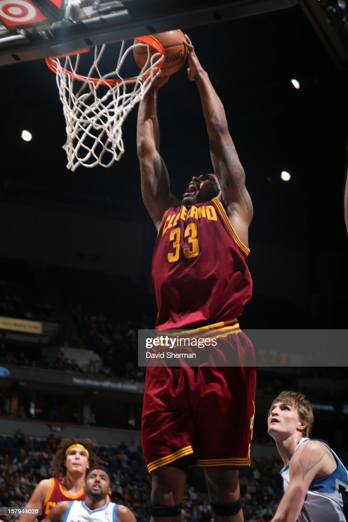 Alonzo Gee #33 of the Cleveland Cavaliers dunks the ball against the Minnesota Timberwolves during the game on December 7, 2012 at Target Center in Minneapolis, Minnesota.