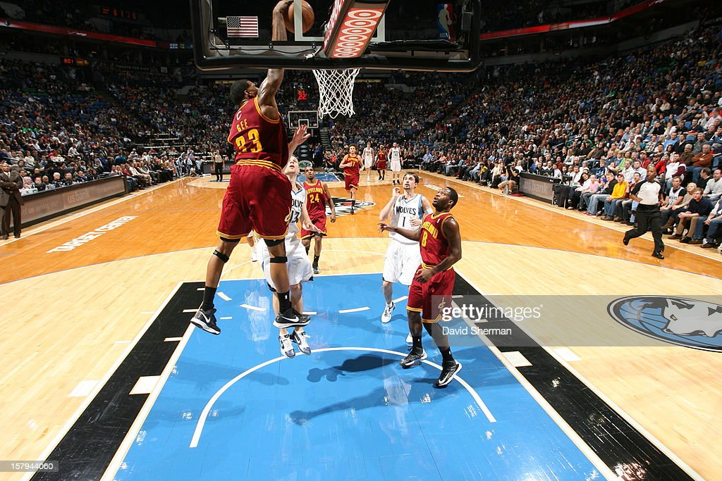 Alonzo Gee #33 of the Cleveland Cavaliers gets way above the rim for a dunk against the Minnesota Timberwolves during the game on December 7, 2012 at Target Center in Minneapolis, Minnesota.