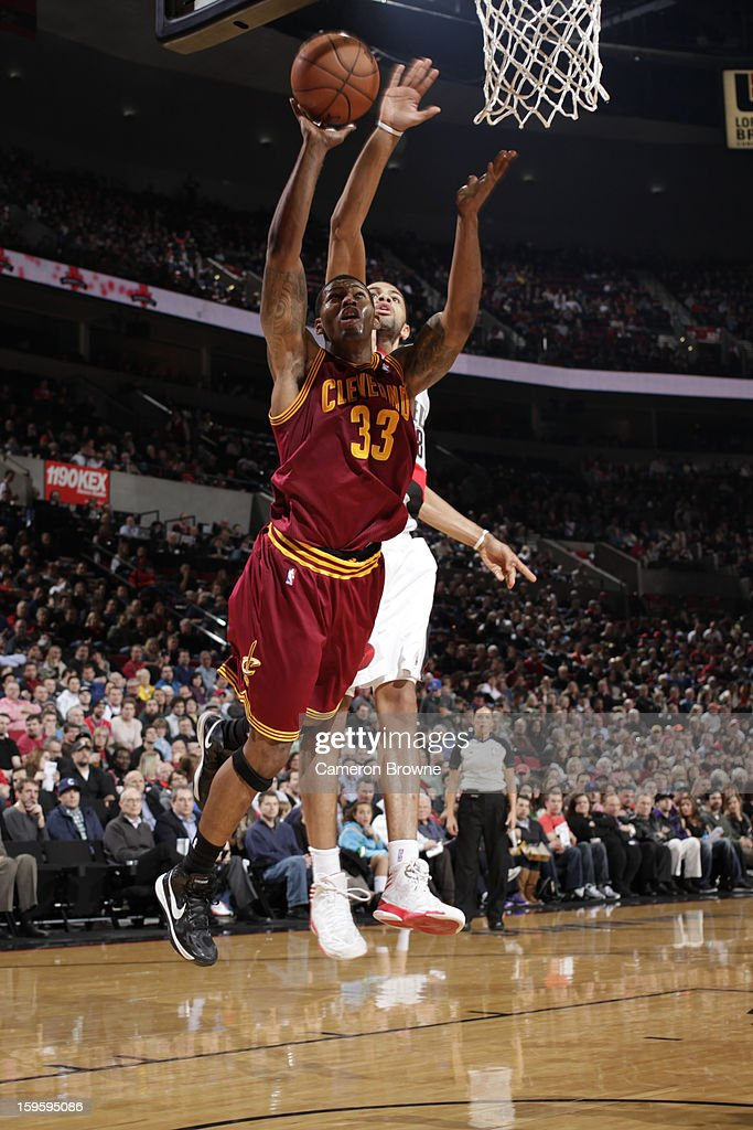 Alonzo Gee #33 of the Cleveland Cavaliers goes to the basket against the Portland Trail Blazers on January 16, 2013 at the Rose Garden Arena in Portland, Oregon.