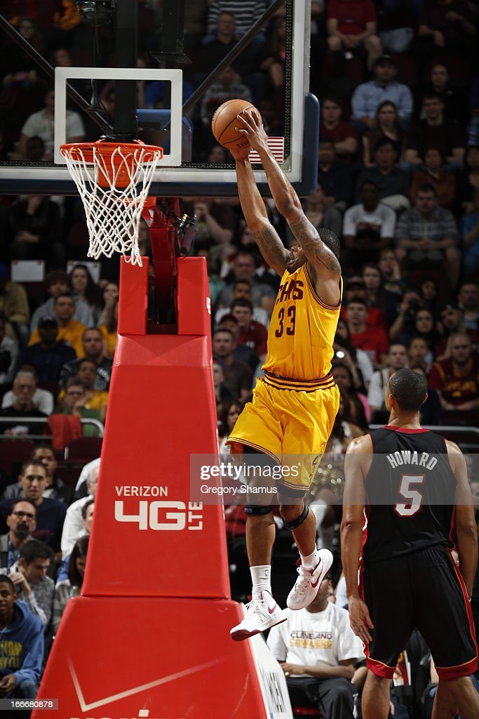 Alonzo Gee #33 of the Cleveland Cavaliers goes up for the dunk against the Miami Heat at The Quicken Loans Arena on April 15, 2013 in Cleveland, Ohio.
