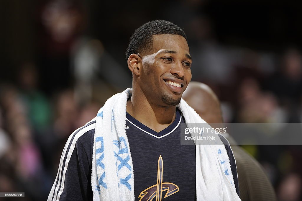 <a gi-track='captionPersonalityLinkClicked' href=/galleries/search?phrase=Alonzo+Gee&family=editorial&specificpeople=801443 ng-click='$event.stopPropagation()'>Alonzo Gee</a> #33 of the Cleveland Cavaliers stands on the court during the game against the Philadelphia 76ers at The Quicken Loans Arena on March 29, 2013 in Cleveland, Ohio.