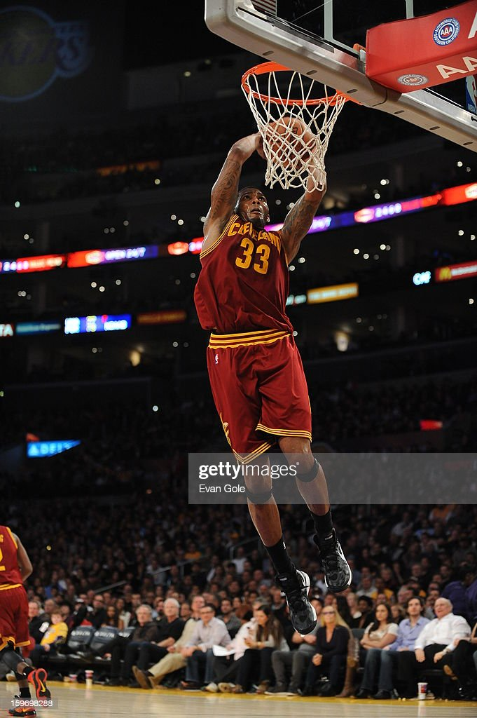 <a gi-track='captionPersonalityLinkClicked' href=/galleries/search?phrase=Alonzo+Gee&family=editorial&specificpeople=801443 ng-click='$event.stopPropagation()'>Alonzo Gee</a> #33 of the Cleveland Cavaliers throws down a dunk against Los Angeles Lakers at Staples Center on January 13, 2013 in Los Angeles, California.