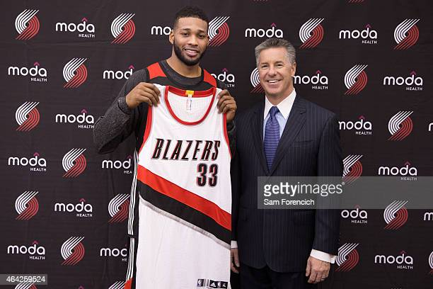 Alonzo Gee of the Portland Trail Blazers is introduced to the media by General Manager Neil Olshey on February 21 2015 at the Trail Blazer Practice...