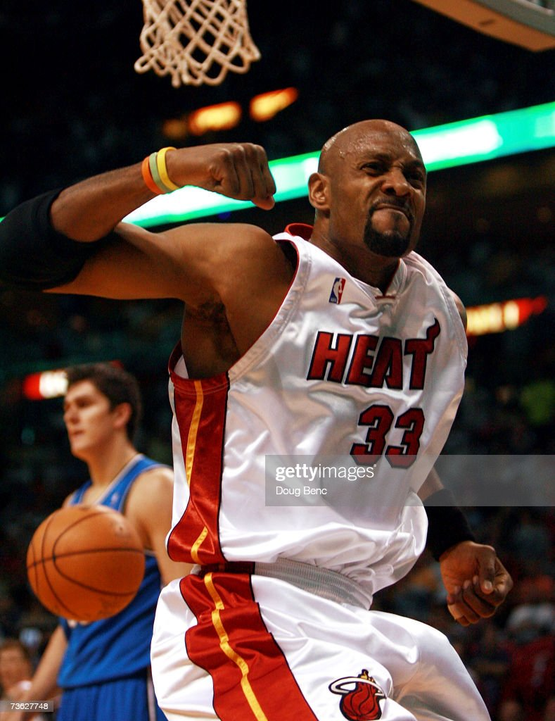 Alonzo Mourning of the Miami Heat celebrates after getting a basket and being fouled on the play against the Orlando Magic at American Airlines Arena...