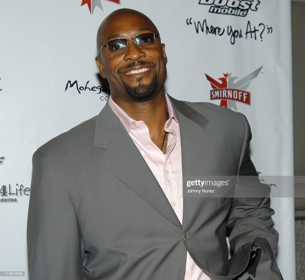 Alonzo Mourning of the New Jersey Nets during Free Presents Break!Celebrity Pool Tournament 2004 - Arrivals at Slate in New York City, New York, United States.