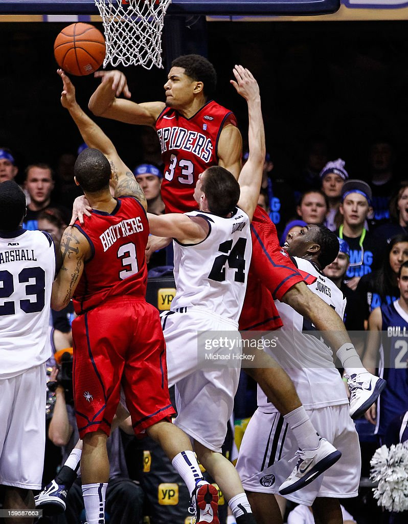 Alonzo Nelson-Ododa #33 of the Richmond Spiders blocks a shot against the Butler Bulldogs at Hinkle Fieldhouse on January 16, 2013 in Indianapolis, Indiana. Butler defeated Richmond 62-47.