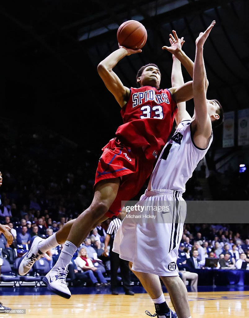 Alonzo Nelson-Ododa #33 of the Richmond Spiders shoots the ball against Andrew Smith #44 of the Butler Bulldogs at Hinkle Fieldhouse on January 16, 2013 in Indianapolis, Indiana. Butler defeated Richmond 62-47.