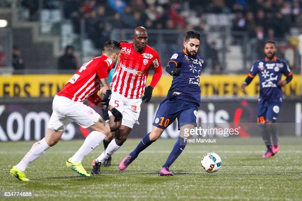 Alou Diarra of Nancy and Ryad Boudebouz of Montpellier during the Ligue 1 match between As Nancy Lorraine and Montpellier Herault at Stade Marcel...