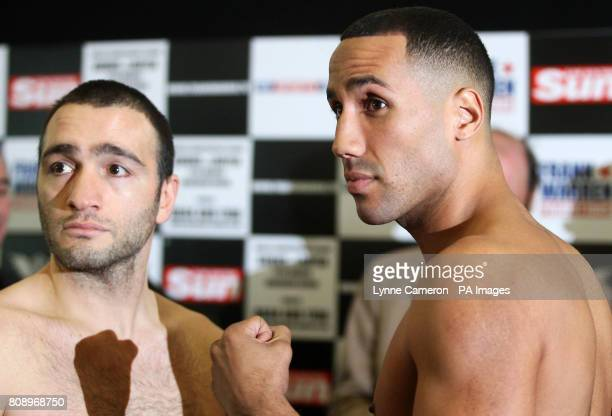 Alpay Kobal and James de Gale during the weigh in at the Hilton Hotel Glasgow