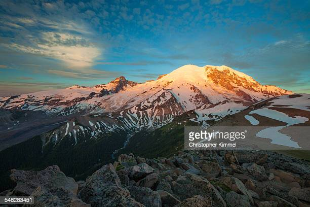 Alpenglow illuminates the NE face of Mount Ranier.