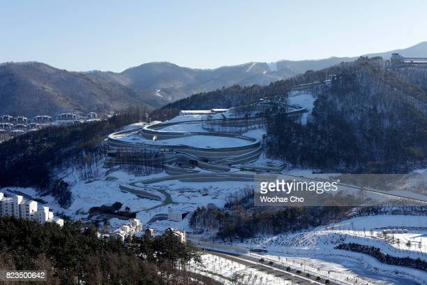 Alpensia Sliding Centre is seen from Alpensia Ski Jumping Centre at on December 16 2016 in PyeongChang South Korea