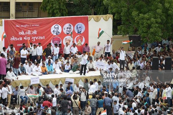 Alpesh Thakore one of the leaders of the Other Backward Class communities addresses a rally against the Patel community's efforts to attain OBC...