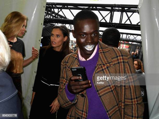 Alpha Dia backstage prior Le Defile L'Oreal Paris as part of Paris Fashion Week Womenswear Spring/Summer 2018 at Avenue Des Champs Elysees on October...