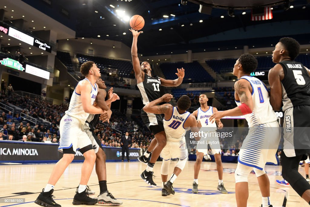 Alpha Diallo #11 of the Providence Friars drives to the basket during a college basketball game against the Providence Friars at Wintrust Arena on January 12, 2018 in Chicago, Illinois. The Friars won 71-64.