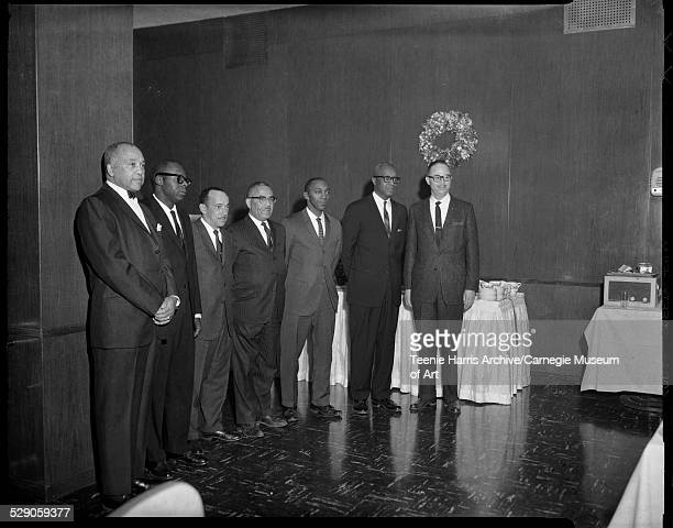 Alpha Phi Alpha Fraternity officers from left Dr Woodford A 'Woody' Harris William A G Fisher Wilbur C Douglass John A Cundieff Nathan Page Henry D...