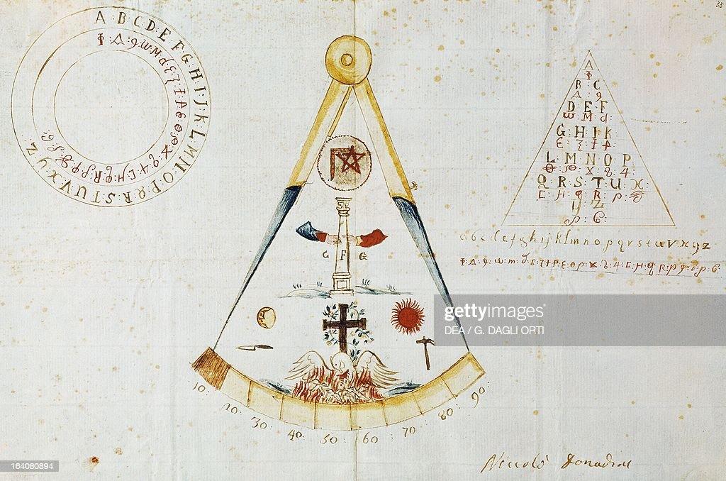 Alphabet and Masonic symbols Italy 19th century Venezia Museo Del Risorgimento E Dell'Ottocento Veneziano