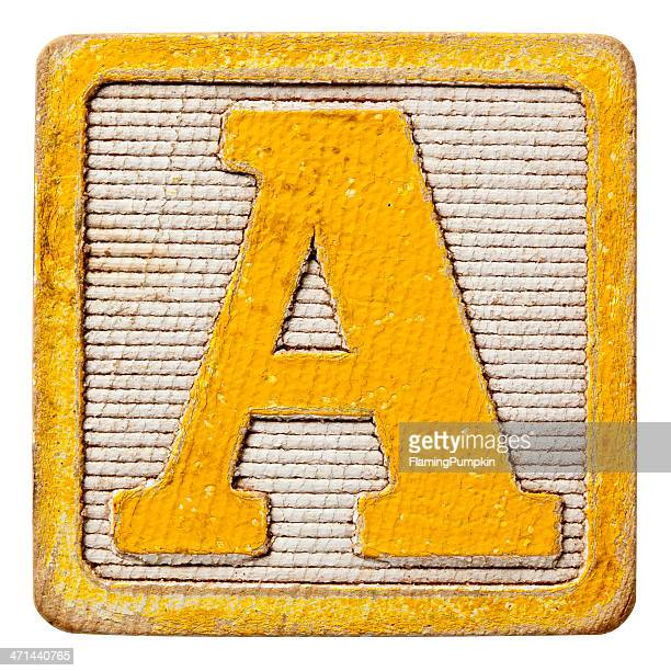 Alphabet - Antique Block Letters, Isolated on White. Letter A.
