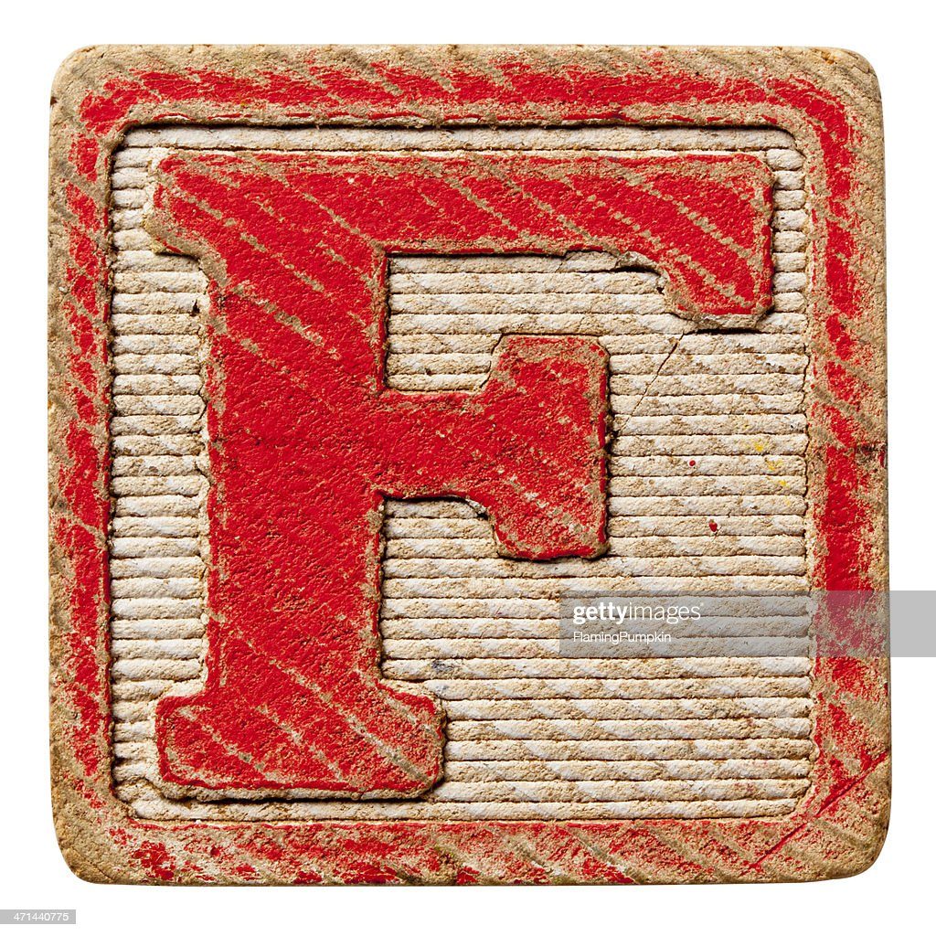 Alphabet - Antique Block Letters, Isolated on White. Letter F.