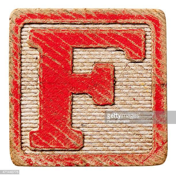 De l'Alphabet-lettres majuscules Antique, isolé sur fond blanc. Lettre F.