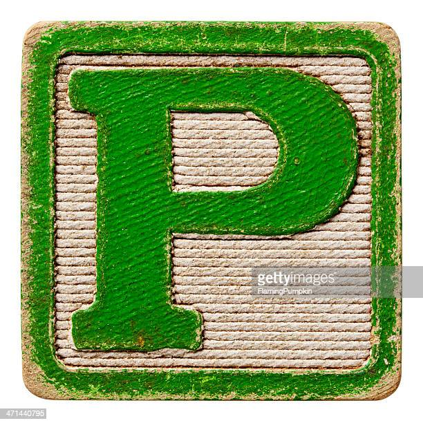 Alphabet - Antique Block Letters, Isolated on White. Letter P.