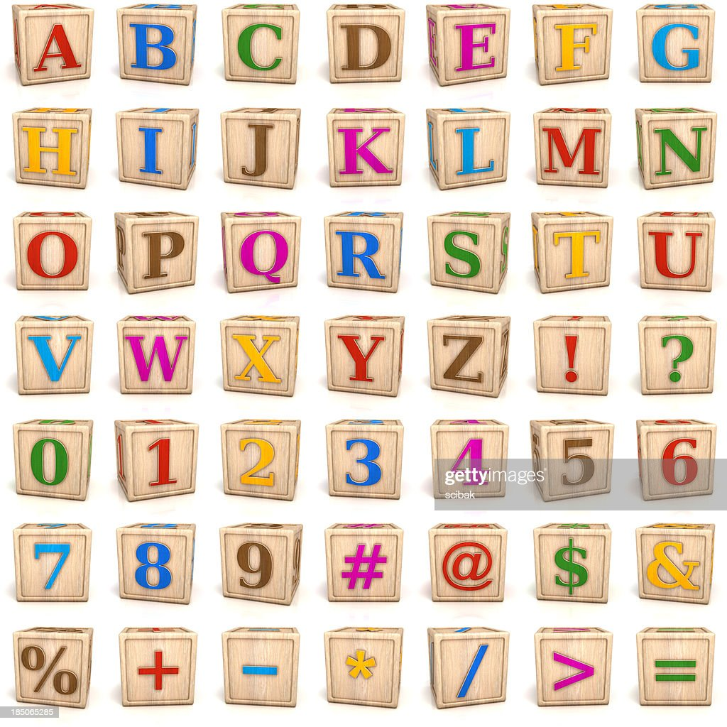 Alphabet blocks letters and numbers