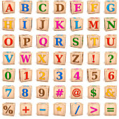 """Alphabet letters ,baby toys, wooden blocks.Digitally generated image. Each block is isolated on white background."""